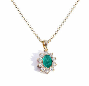 Ah! Jewellery® Gold Filled 1.45ct Genuine Gemstone Emerald Necklace, Stamped GL
