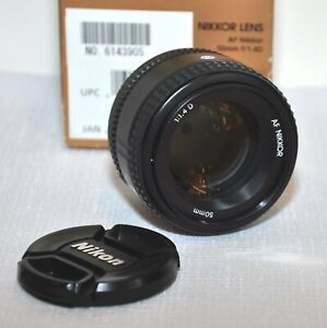 Nikon Nikkor 50mm f/1.4D AF Lens With Original Box And Lens Cover & Cap