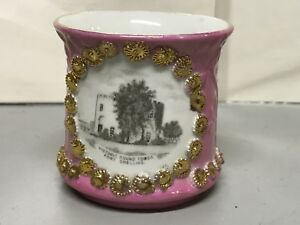 Antique FORT SNELLING SOUVENIR GERMAN PINK LUSTRE mug~ GOLD FLOWERS~ROUND HOUSE