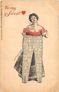 H66/ Valentine's Day Love Holiday Postcard c1910 Newspaper Print Pants 25