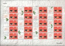 Ls2a 2001 Consignia Christmas Robin Royal Mail Smilers Sheet. Light creasing.