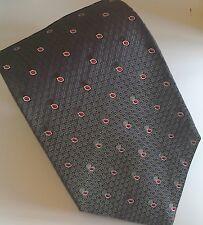 Vintage Jaeger 100% Strukturiert Seide Krawatte... grau & rot... NEU & unbenutzt