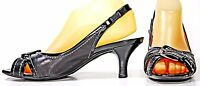 Cole Haan Black Leather & Patent Slingbacks Kitten Heel Sandals Shoes sz 8 B