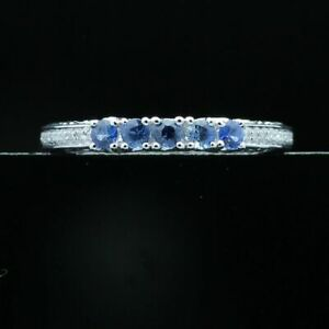 Solid 10k White Gold 0.45CT Natural SI/H Diamonds Sapphires Gemstone Band Ring