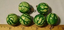 Set of 6 ODD Lacquer Green PAINT DRIP Ball Vintage Buttons - Old Unused Stock