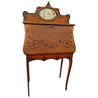 Antique Solid Oak Desk Secretary with Locking carved Door and beveled mirror