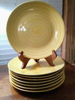"8 Swirl Yellow Hand Painted Collection 10 1/2"" Dinner Plates Sold Individually"
