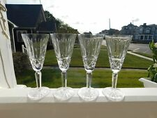 4 Stamped Waterford Crystal Maeve Champagne Flutes