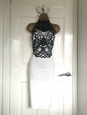 White / Black Trim Detail Bodycon Wiggle Pencil Midi Dress Size UK12 New