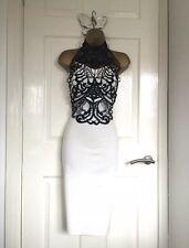White / Black Trim Detail Bodycon Wiggle Pencil Midi Dress Size UK 8 -:::- New