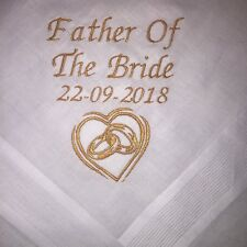 Personalised Embroidered Embroidery Father Bride Wedding Handkerchief Hanky Gift