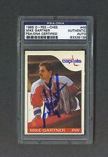 Mike Gartner signed Washington Capitals 1985 Opee Chee hockey card Psa