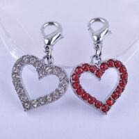 EG_ LC_ Pet Dog Rhinestone Heart Tag Collar Pendant Charm Jewelry Accessories Du