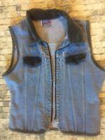Womens Super Distressed 90s Vintage Denim Vest With Velvet Trim Grunge Medium