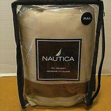 Nautica Bed Skirt Sea Glass Stripe Ivory Brown Full