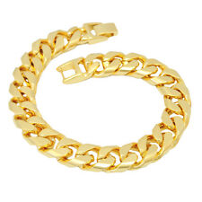 """24K Yellow Gold Plated 9"""" 10mm Curb Chain Bracelet Traditional Birthday Gift Box"""