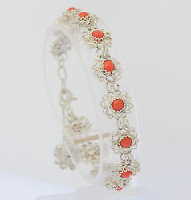 ♦Korallen Armband in aus Silber mit Koralle Silberarmreif Silberarmband Armreif
