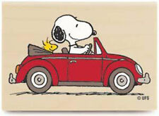 New Peanuts Driving Woodstock Wood Rubber Stamp Snoopy Red Convertible Friends