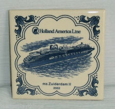 "Holland America Line Tile Trivet ms Zuiderdam II 4"" Blue Delft 2002 FREE US Ship"