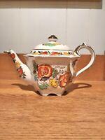 Vintage Sadler HEXAGONAL Teapot England #2521 Floral on White Gold Accents