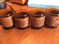 Vintage collectible wine glasses from Spain - leather, brown- Set of 4