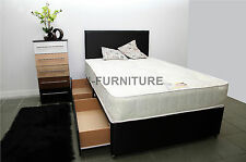 4ft6 Double Divan Bed With 2 Drawers & Orthopaedic Mattress Headboard