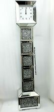 Diamond Crush Sparkly Silver Mirrored Bevelled Grandfather Clock W30 D20 H143cm