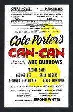"""Cole Porter """"CAN-CAN"""" Aleta Morrison / George Gee 1956 Manchester, England Flyer"""