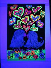 Vintage 1969 FLOWER LOVE Hippie Psychedelic Blacklight Poster Artist Sims COOL