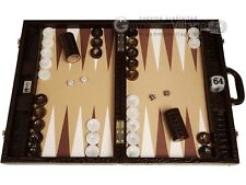 "Wycliffe Brothers 21"" Tournament Backgammon Set - Brown Croco Board, Beige Field"