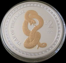 2013 Gilded Snake 1 oz Proof Silver Lunar Coin: New Zealand Mint (Mintage 2013)