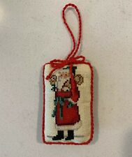 Vintage Completed Cross Stitch Christmas Ornament Victorian Santa with Bells