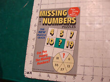 vintage UNUSED puzzle book: MISSING NUMBERS Puzzles SEPT 1974--ISSUE ONE