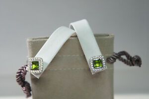 David Yurman 925 Silver 585 PERIDOT Diamond Petite Ablion Stud Earrings Pouch