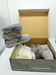 BNWT BEARPAW Kiera - Grey Fog 051 Suede Slip On Boots Size UK 4 (DN120F25)