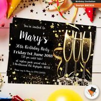 Personalised champange birthday invitations invites envs 18th 21st 30th 40th