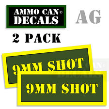 9MM SHOT Ammo Can Box Decal Sticker bullet ARMY Gun safety Hunting 2 pack AG
