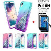 For Motorola Moto E6 Case Glitter Liquid Bling Cover+Black Full Tempered Glass