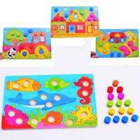 Montessori Kids Early Learning Educational Cartoon Toys Wooden Tangram Jigsaw FR