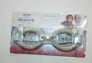 Disney Store Frozen II Girls Swim Goggles Light Blue Snowflakes Gems 3 year plus
