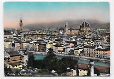 RPPC Real Photo Postcard HandColored Florence Panorama Italy 100 Lire Stamp