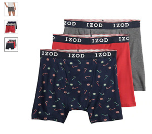 "Men's Izod 3-Pack Cotton Boxer Briefs 6"" inseam with Fly (Black - Red - Gray)"
