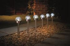 6 PACKS WHITE STAINLESS STEEL CRACKLE BALL SOLAR GARDEN LIGHTS