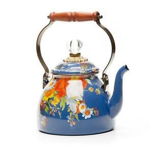 Authentic MacKenzie-Childs Flower Market Tea Kettle - 2 Qt. - Lapis - NIB