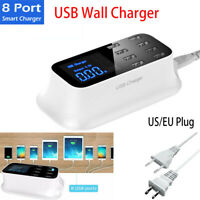 8 Multi-Port USB Adapter Desktop Wall Charger Smart LED Charging Station US/EU E