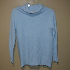 ANN TAYLOR LOFT Women's Sz S Blue Ribbed Turtleneck COWL NECK Sweater  EUC