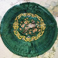 """Vtg Chinese Green Satin Gold Embroidered Bird Floral 18"""" Rd Pillow Cover Ruched"""