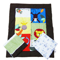JUNGLE SAFARI 3 Pcs Baby Boy Appliqued and Embroidered Cot Quilt Set BRAND NEW