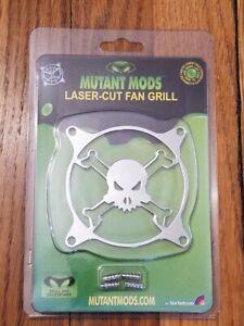 Mutant Mods 80mm Silver Chrome Laser-Cut Fan Grill - Skull & Crossbones