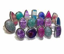 Bulk Lot !! 20 PCs. Aqua Dichroic & Agate Glass 925 Silver Plated Ring Jewelry